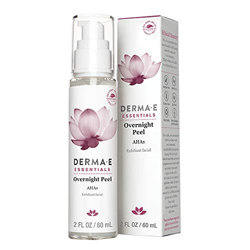 DERMA E Overnight Peel, Face Mask with Alpha Hydroxy Acids. Non-abrasive face lotion, Retexturizes While You Sleep. Diminishes Acne Scars & Dead Skin, Reduces Signs of Hyperpigmentation & Uneven Skin