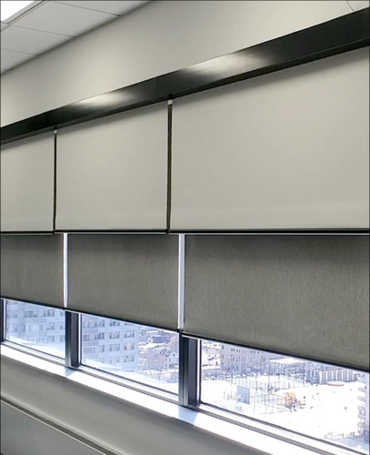 Day & Night Dual Shades combined with blackout and light filtering in conference room