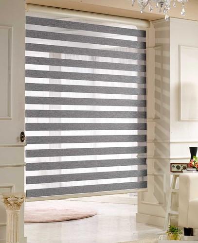Zebra Basic Dual Sheer Light Filtering Roller Shades Woodlook Grey Color in Large Window