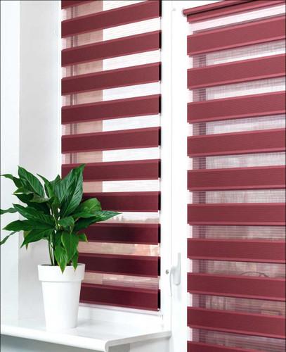 Zebra Basic Dual Sheer Light Filtering Roller Shades Burgundy Color in Living Room