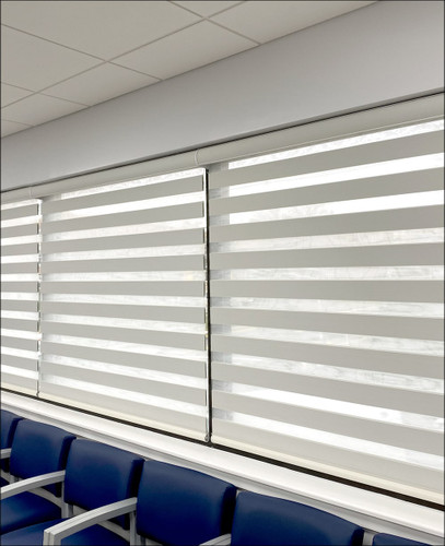Premium Room Darkening Zebra Dual Sheer Blackout Roller Shades in waiting room