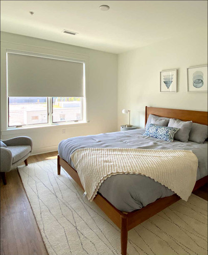 Blackout (100% Light Blocking) Fabric EZRise & FREE Valance Roller Shades In Bedroom. Springblinds' Blackout Roller Shades lets you choose how much light comes into your room! The cordless, motorized design is modern and easy to use.