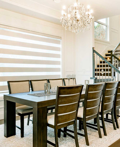 Premium Pleated Dual Sheer Light Filtering Zebra Roller Shades ivory color in dining room