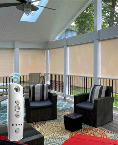 5% Openness Motorized Indoor/Outdoor SOMFY Smart Home Solar Shades  in patio