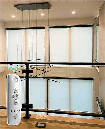 5% Openness Indoor SOMFY Motorized Solar Shades For Gorgeous Double Height Living Room