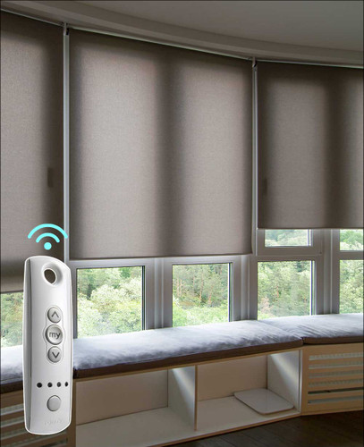 SOMFY Light Filtering Smart Home Motorized Roller Shades in a home library