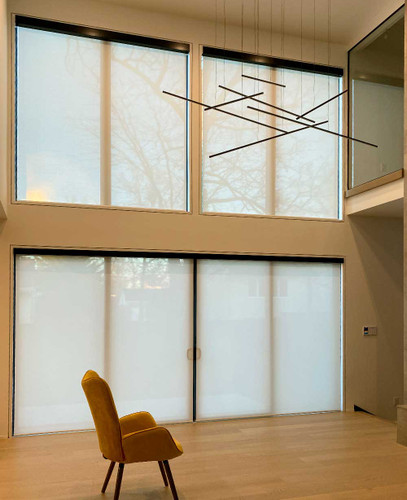 5% Openness Indoor Solar Shades For Gorgeous Double Height Living Room