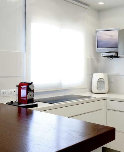 Light filtering roller shades for kitchen