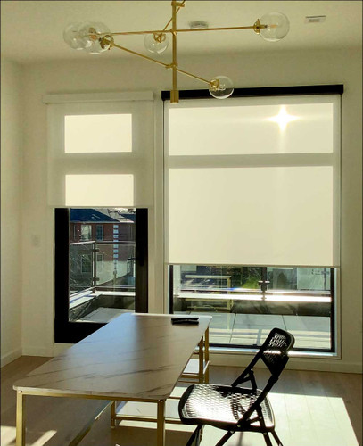 1% Openness Indoor/Outdoor Solar Shades with Premium Cassette Fascia in Home Office
