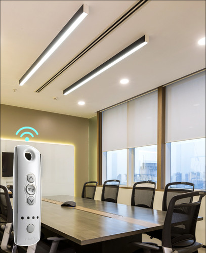 Solar 1% motorized white indoor shades for office room