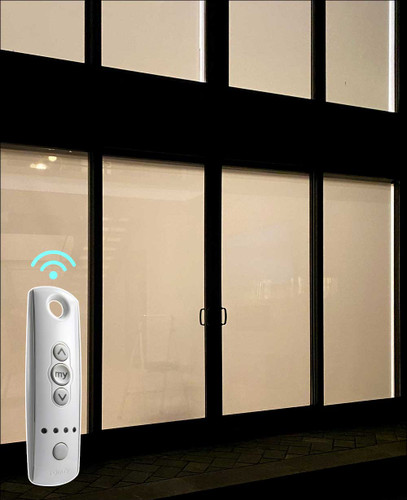 Solar 1% Openness SOMFY Motorized Indoor Solar Shades in Living Room - Outside View at Night
