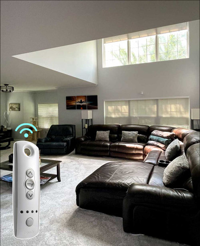 1% Openness SOMFY Motorized Indoor Solar Shades in High Ceiling Living Room
