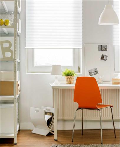 Honeycomb basics bottom up light filtering cordless blinds in family room