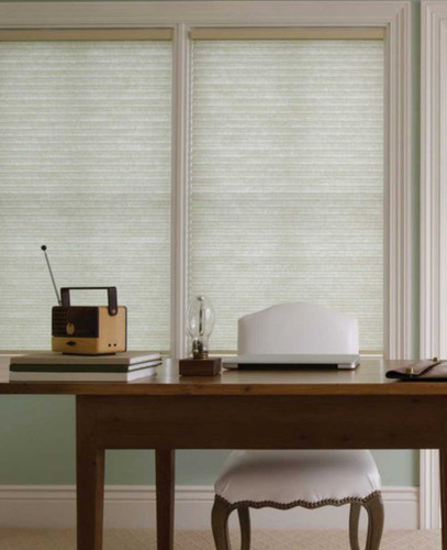 Honeycomb Basics Bottom Up Light Filtering Cordless Shades in home office