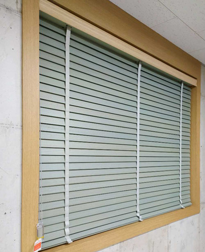 Premium wood blinds with decorative tape for bedroom