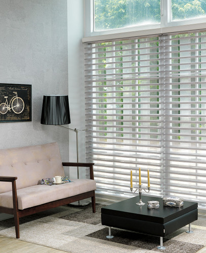 Opened gray 3D Picasso sheer blinds office room