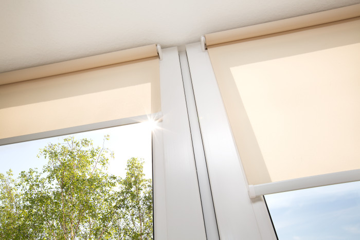 Springblinds' day night shades Taupe Blackout & White Sable Solar Shade is true to its promise: Maximum versatility.