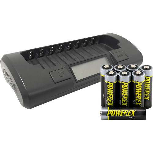 Powerex MH C800S Charger With 8 Pro AA NiMH Batteries