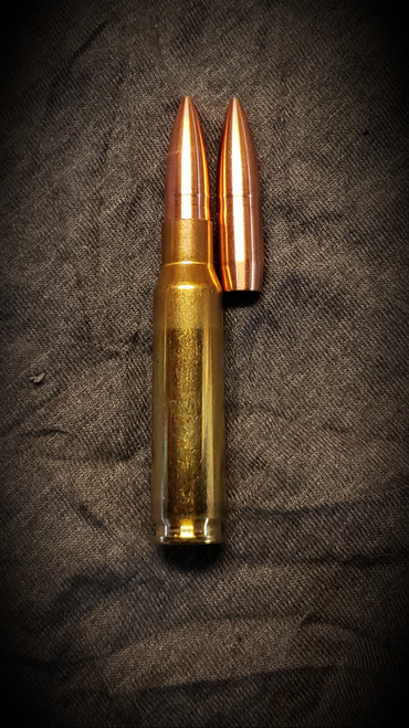 163 Cayuga shown loaded in 308 Winchester case with the base of the boat tail at the base of the neck.  Cartridge OAL is 2.850 as shown.