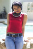 Lovely red top and jeans.  Model Size:  BePear Small.