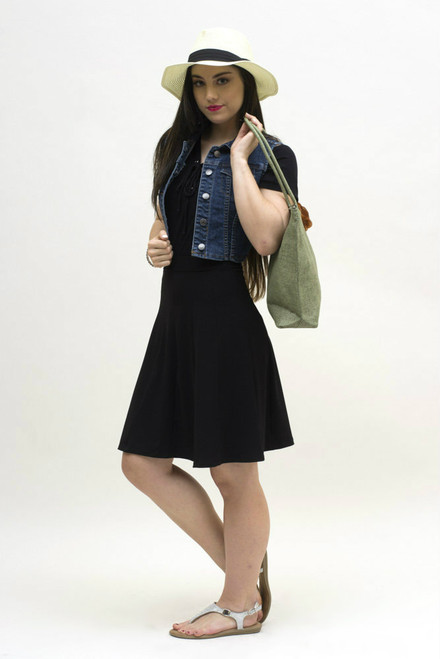Here the bolero is matched with our black panel skirt.