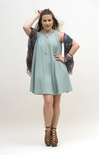 Mint Swing Dress with scarf.