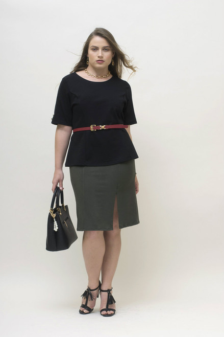Matched here with our sleeved black blouse with gold buttons and a red belt.