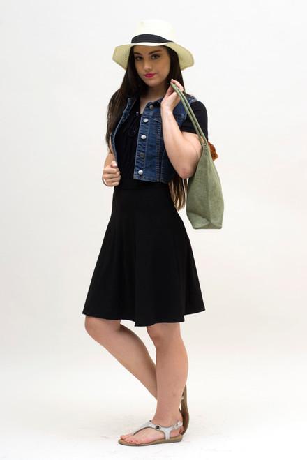 BePear Midi Panel Skirt - Black