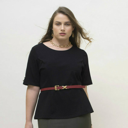 Shown here in combination with the BePear Khaki Green Pencil Skirt and a red belt (sold separately).
