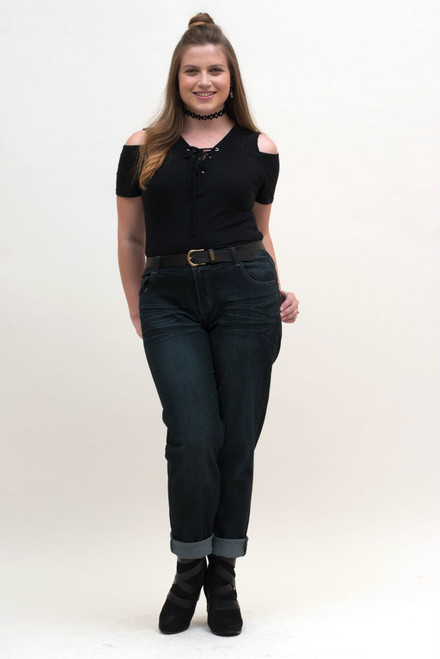 Jeans are modeled here with our cold shoulder black blouse. Timeless combination.