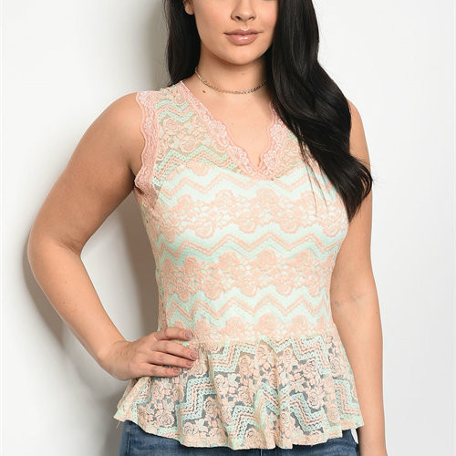 Peach Mint Peplum Top