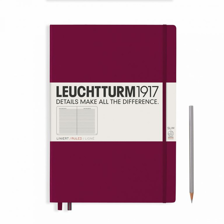 LEUCHTTURM1917 Notebook Master Slim (A4+) Hardcover, 121 Numbered Pages, Ruled, Port Red