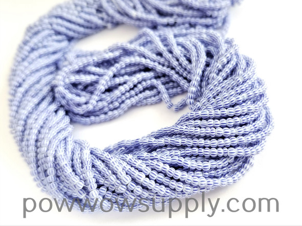 11/0 Seed Beads Striped Light Blue-White Multi Stripe