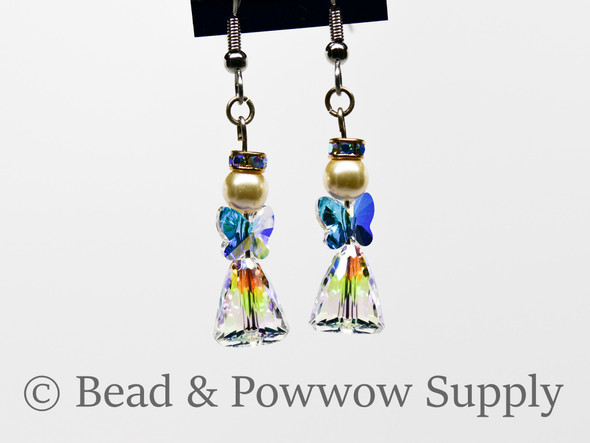Large Angel Earrings, made with Crystals