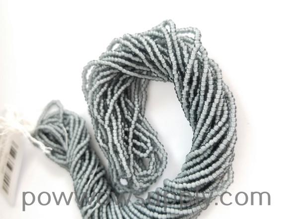 11/0 Seed Beads White Lined Smoke Grey