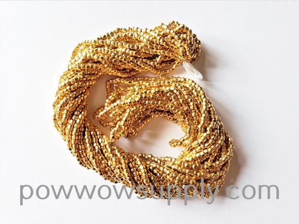 9/0 3-cuts Metallic 24k Gold Plated