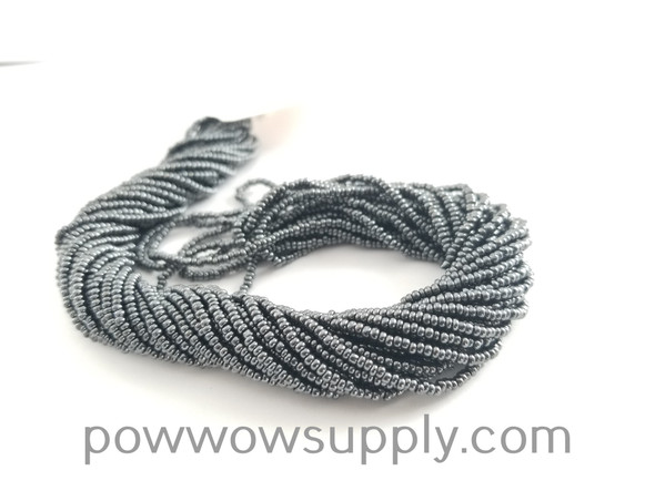 11/0 Seed Beads Metallic Light Gunmetal