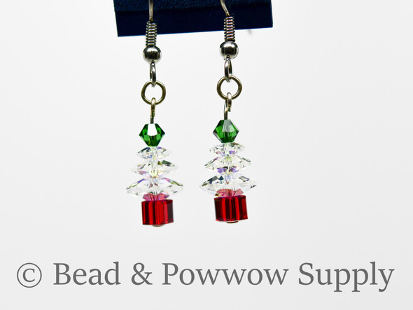Mini Christmas Tree Earrings, made with Crystals 1