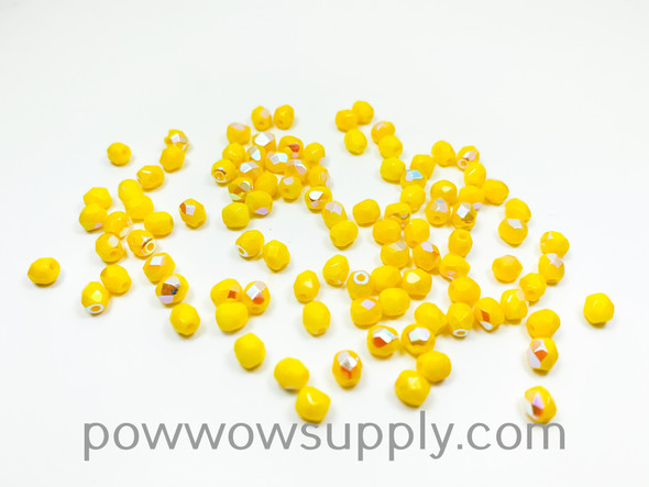 4mm Fire Polish Opaque AB Yellow