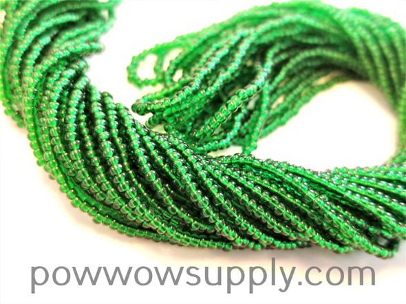 13/0 Seed Beads Transparent Medium Green