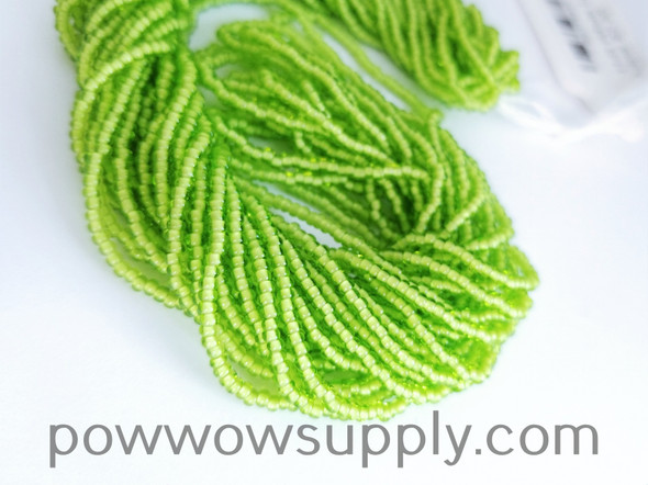 11/0 Seed Beads White Lined Lime