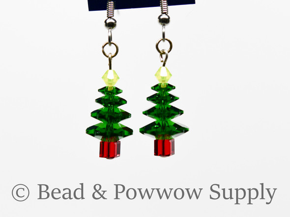 Christmas Tree Earrings, made with Crystal 1
