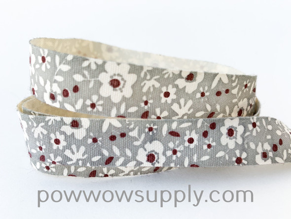 Grey Floral Printed Cotton Tape (5 yards)