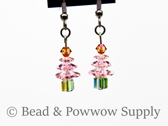 Mini Christmas Tree Earrings, made with Crystals 6