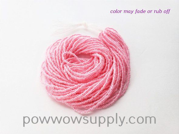 11/0 Seed Beads Pink Lined Crystal