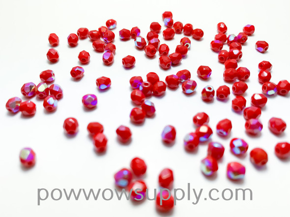 4mm Fire Polish Opaque AB Red