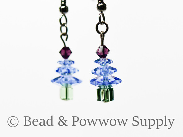 Mini Christmas Tree Earrings, made with Crystals 8