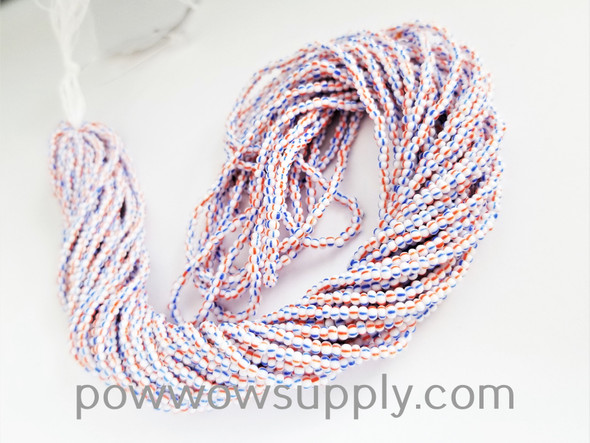 13/0 Seed Beads Striped Red/White/Blue