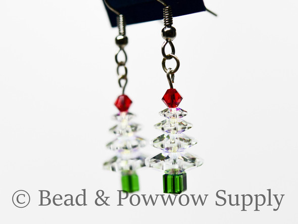 Christmas Tree Earrings, made with Crystal