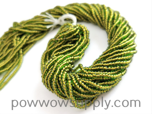 11/0 Seed Beads Green-Copper Lined